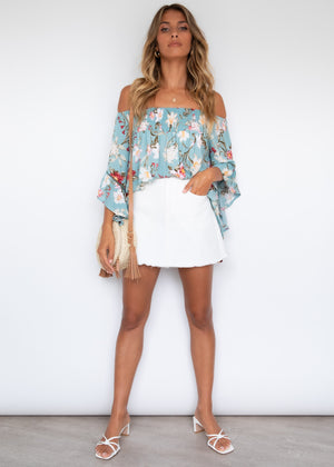 Say Hello Off Shoulder Blouse - Arctic Garden