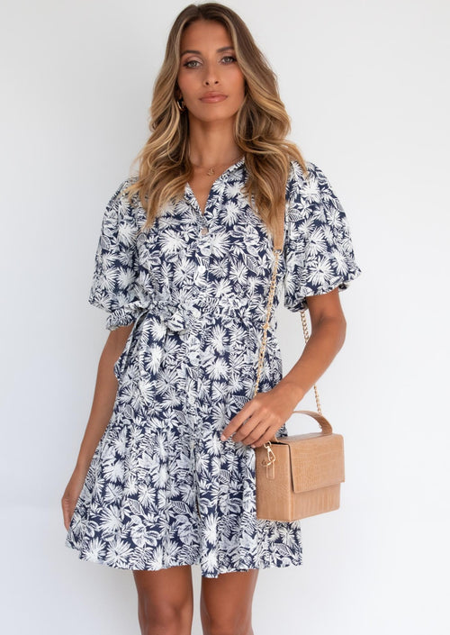 Sweet Disguise Dress - Navy Palms