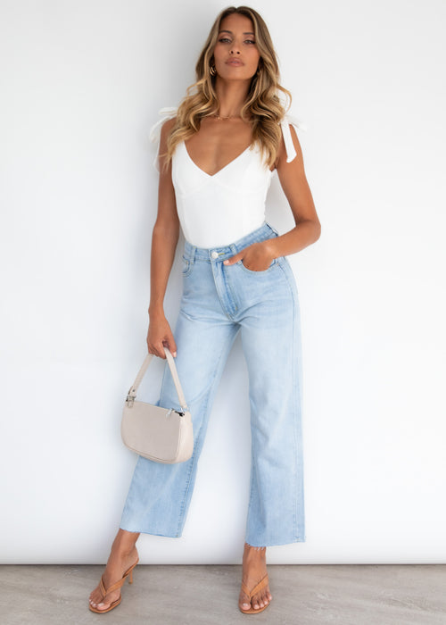 Reagan Wide Leg Jeans - Light Blue