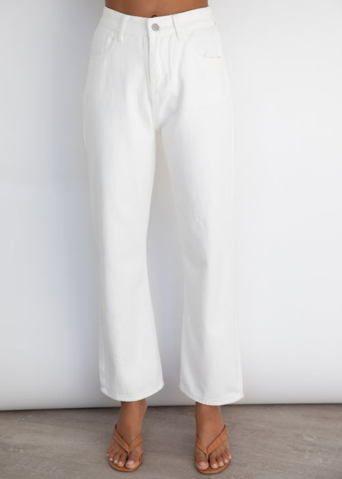 Laura Wide Leg Jeans - White