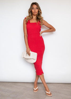 Leigh Ruched Midi Dress - Red