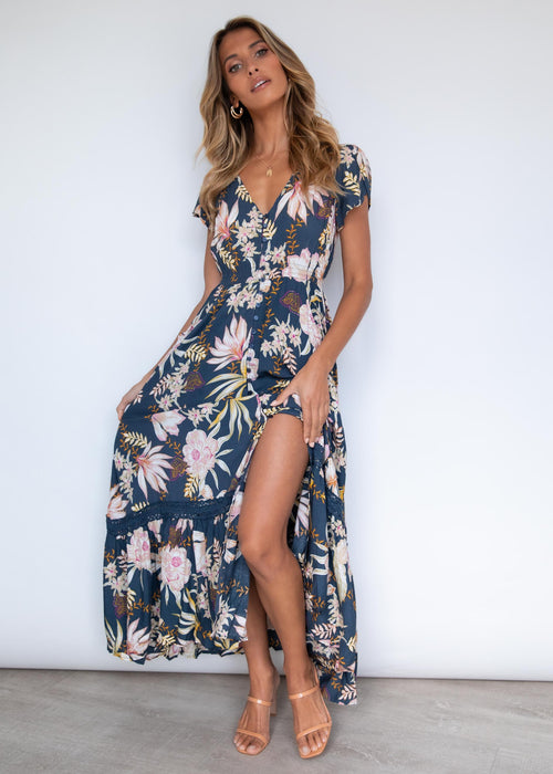 Carmen Maxi Dress - Night Blooms