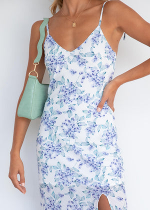 Love Shack Midi Dress - Blue Flowers