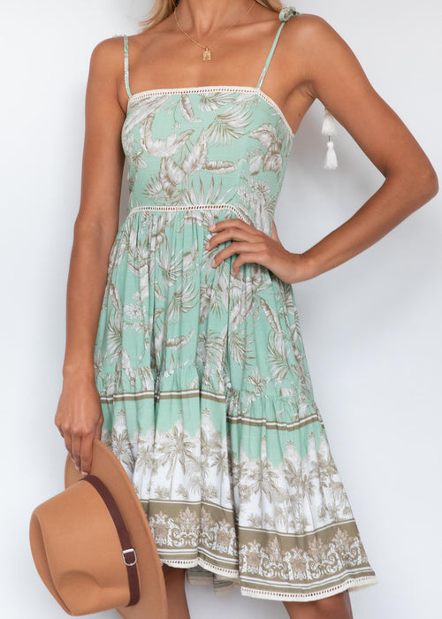 Zarliah Midi Dress - Sage Palms