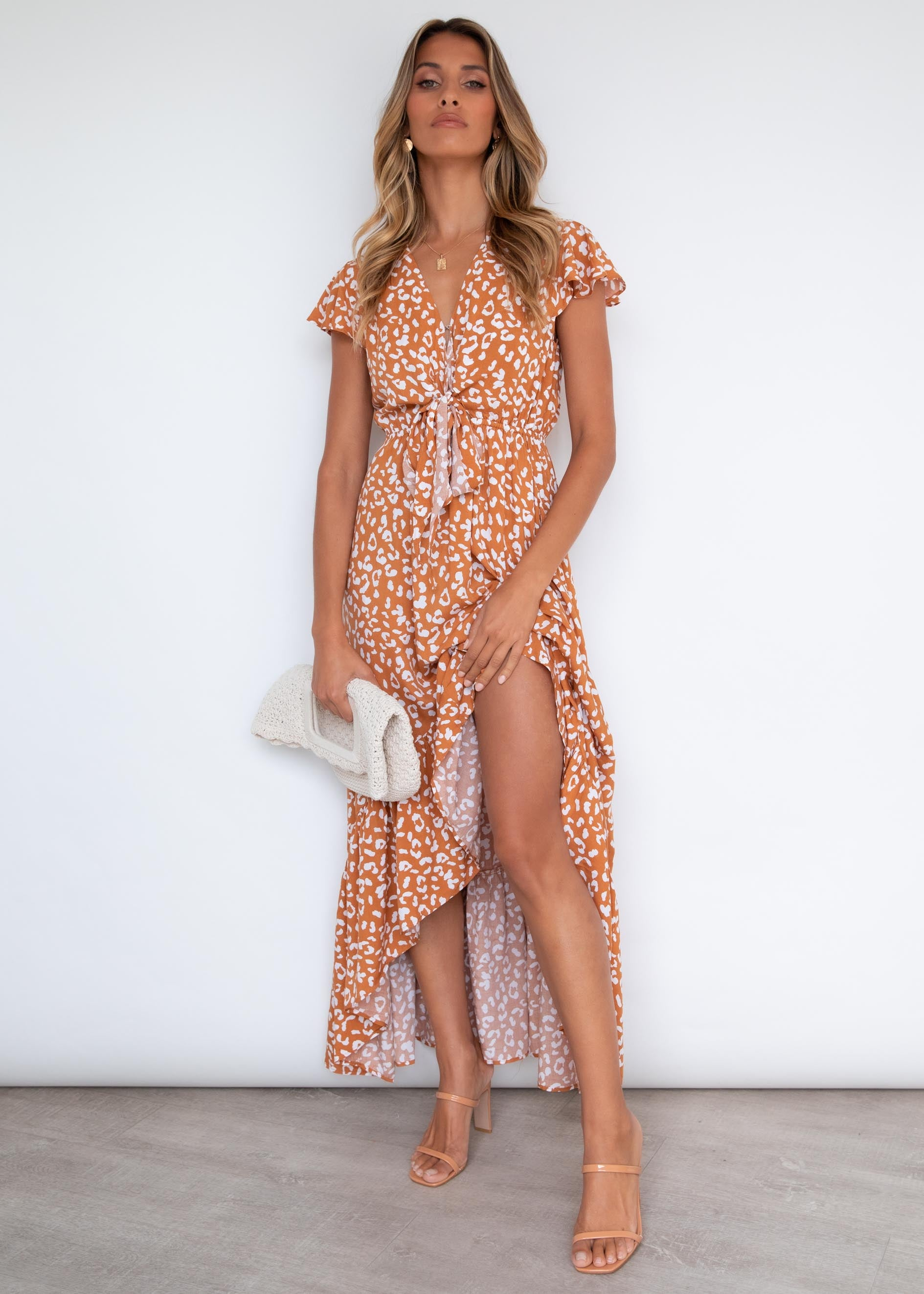 Palm Bay Midi Dress - Tan Leopard