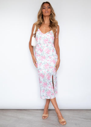Love Shack Midi Dress - Blush Flowers