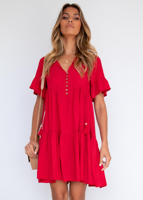Reign Smock Dress - Red