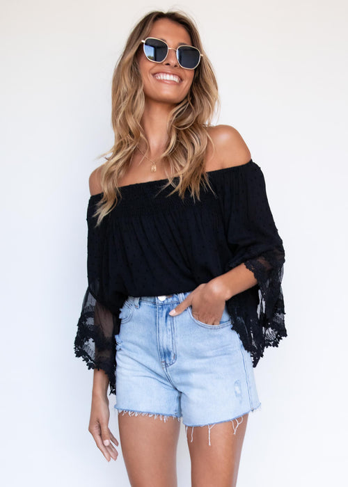 Horizons Off Shoulder Blouse - Black