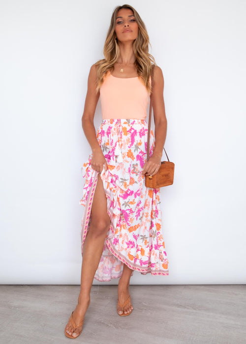 Lexxi Hi-Lo Midi Skirt - Tropicana Dreams