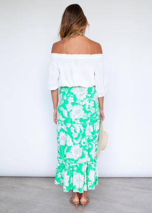 Vacay Mode Maxi Skirt - Gardenia Green
