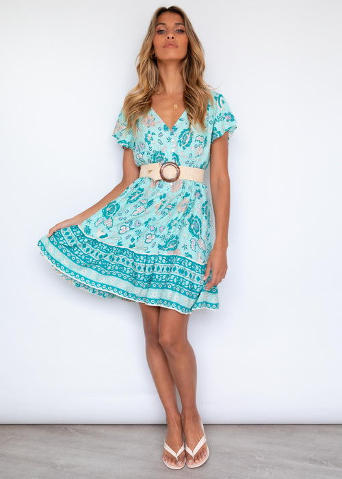 Havanah Dress - Teal Skies