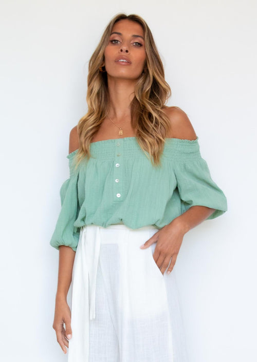 Klayton Off Shoulder Blouse - Sage