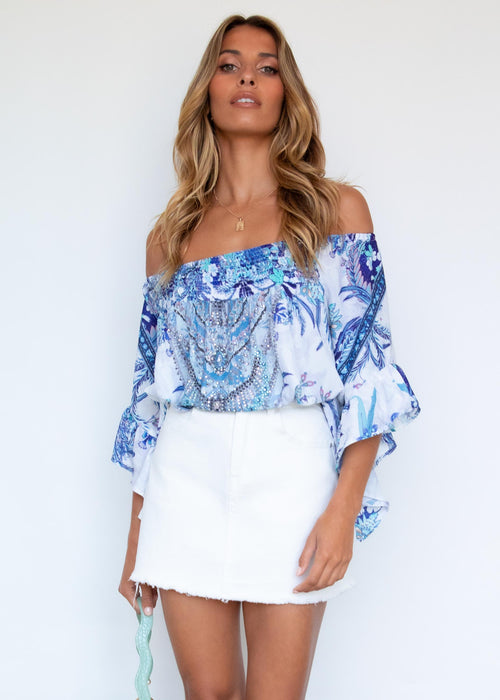 Shreya Off The Shoulder Blouse - Sapphire Paisley