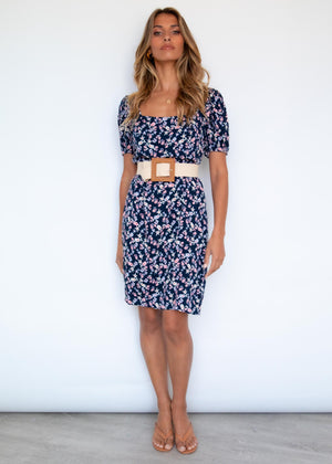 Matiyah Dress - Navy Garden