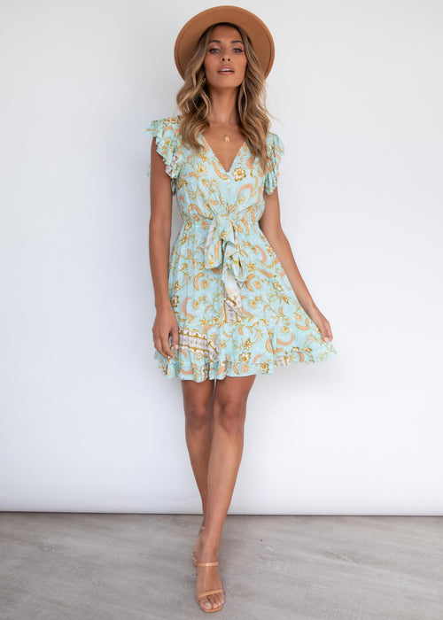 Kira Tie Dress - Aztec Summer