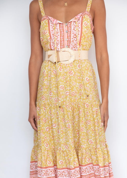 My Ties Midi Dress - Mustard Floral