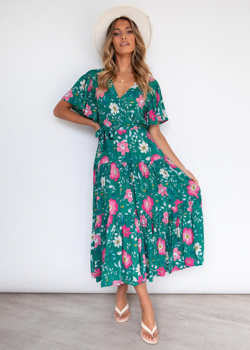 Cupid Midi Dress - Emerald Petal