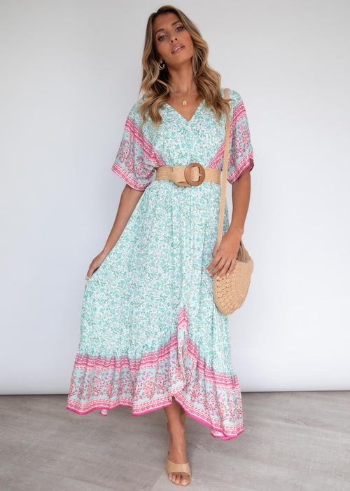 Jaeton Midi Dress - Mint Summer