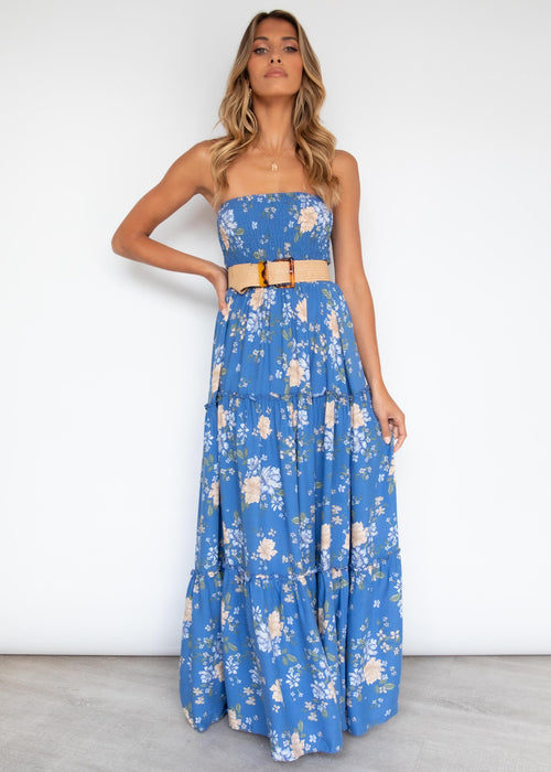 Claudia Maxi Dress - Cobalt Floral
