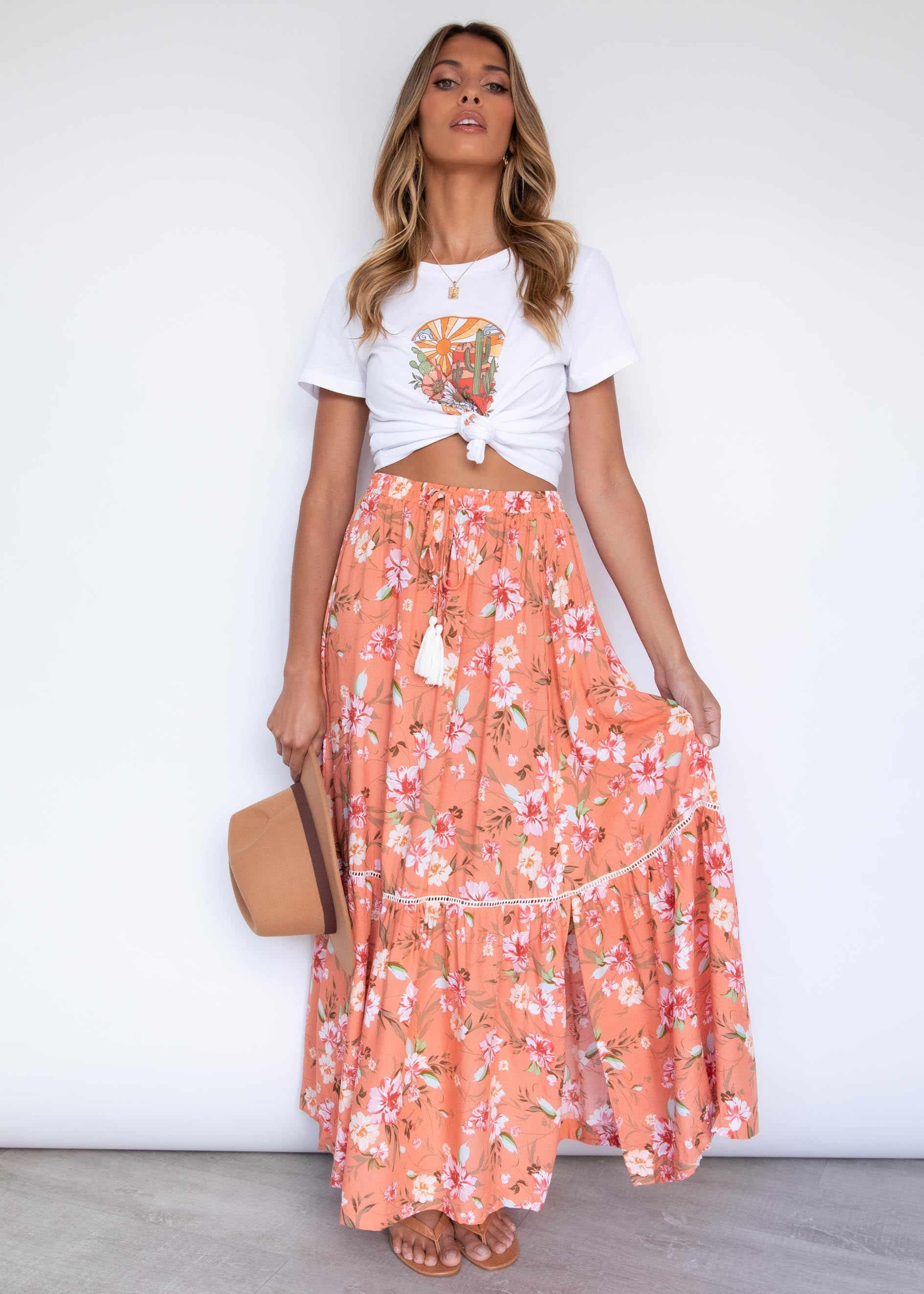 Asha Maxi Skirt - Coral Flowers