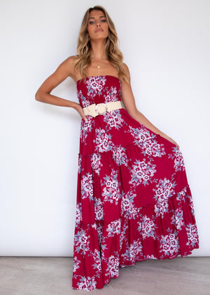 Claudia Maxi Dress - Berry Floral