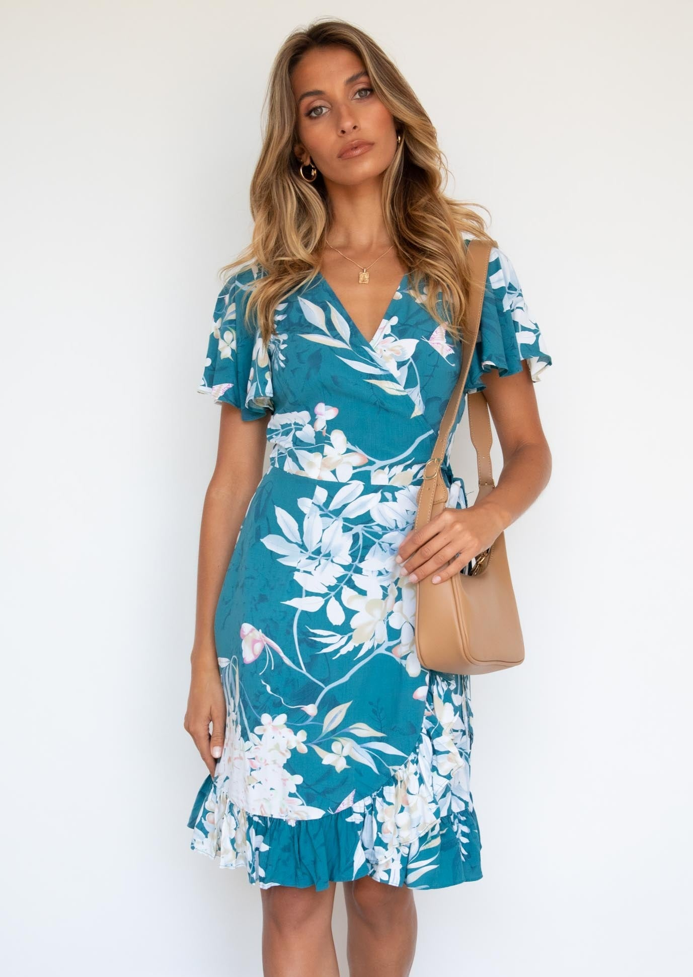 Khai Wrap Dress - Teal Lillies