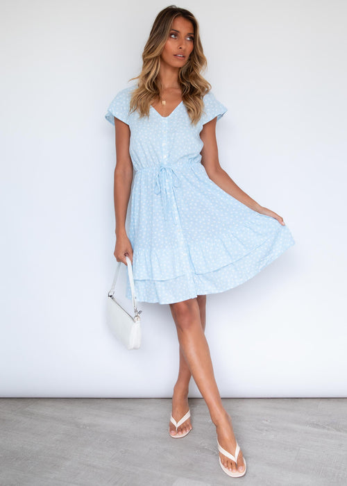 Edon Swing Dress - Sky Polka