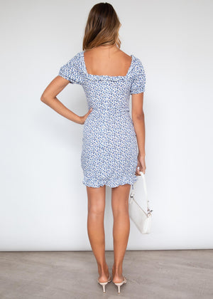 Rebekkah Ruched Dress - Blue Floral