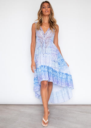 Rayana Hi-Lo Dress - Ocean Breeze