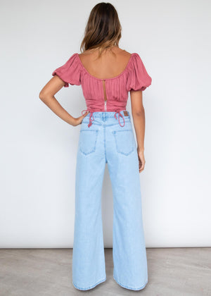 Delvina Crop Blouse - Rose