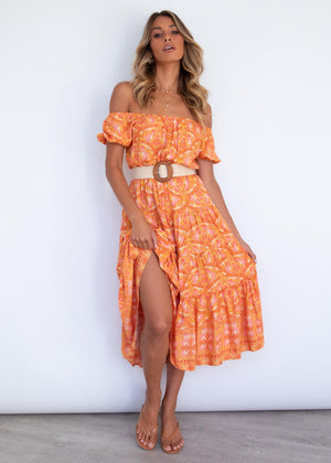 Bethany Off Shoulder Maxi Dress - Fleetwood