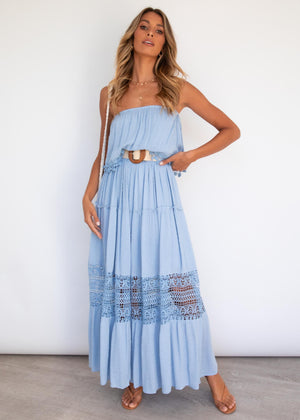 Steps Apart Maxi Dress - Sky Blue