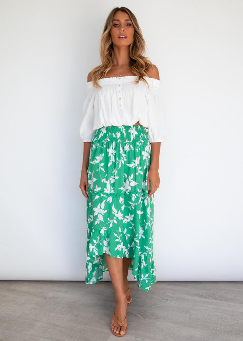 Levelle Hi-Lo Midi Skirt - Green Floral