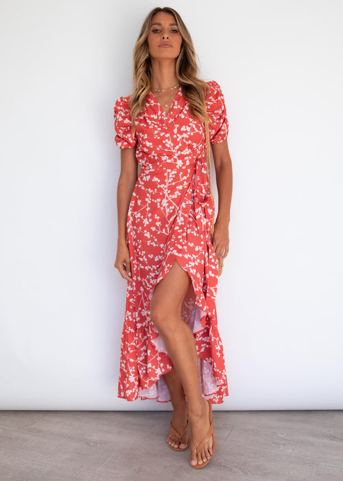 Override Hi-Lo Midi Dress - Red Berries