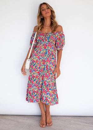 Loxley Midi Dress - Tropical Blooms