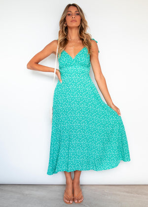 Jaxine Midi Dress - Emerald Floral