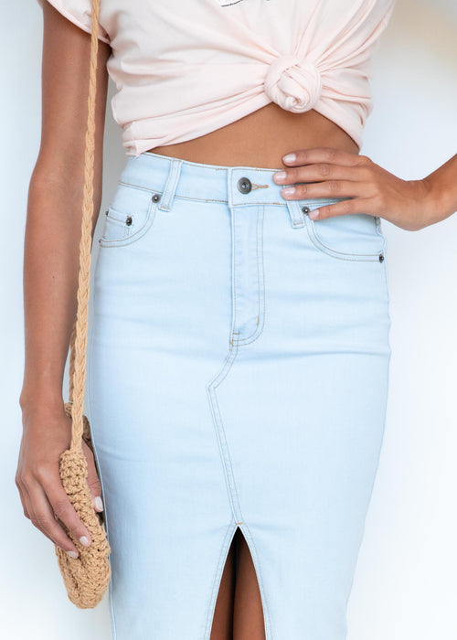 Happy Hour Denim Midi Skirt - Ice Blue