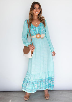 Maiah Maxi Dress - Aqua Sea