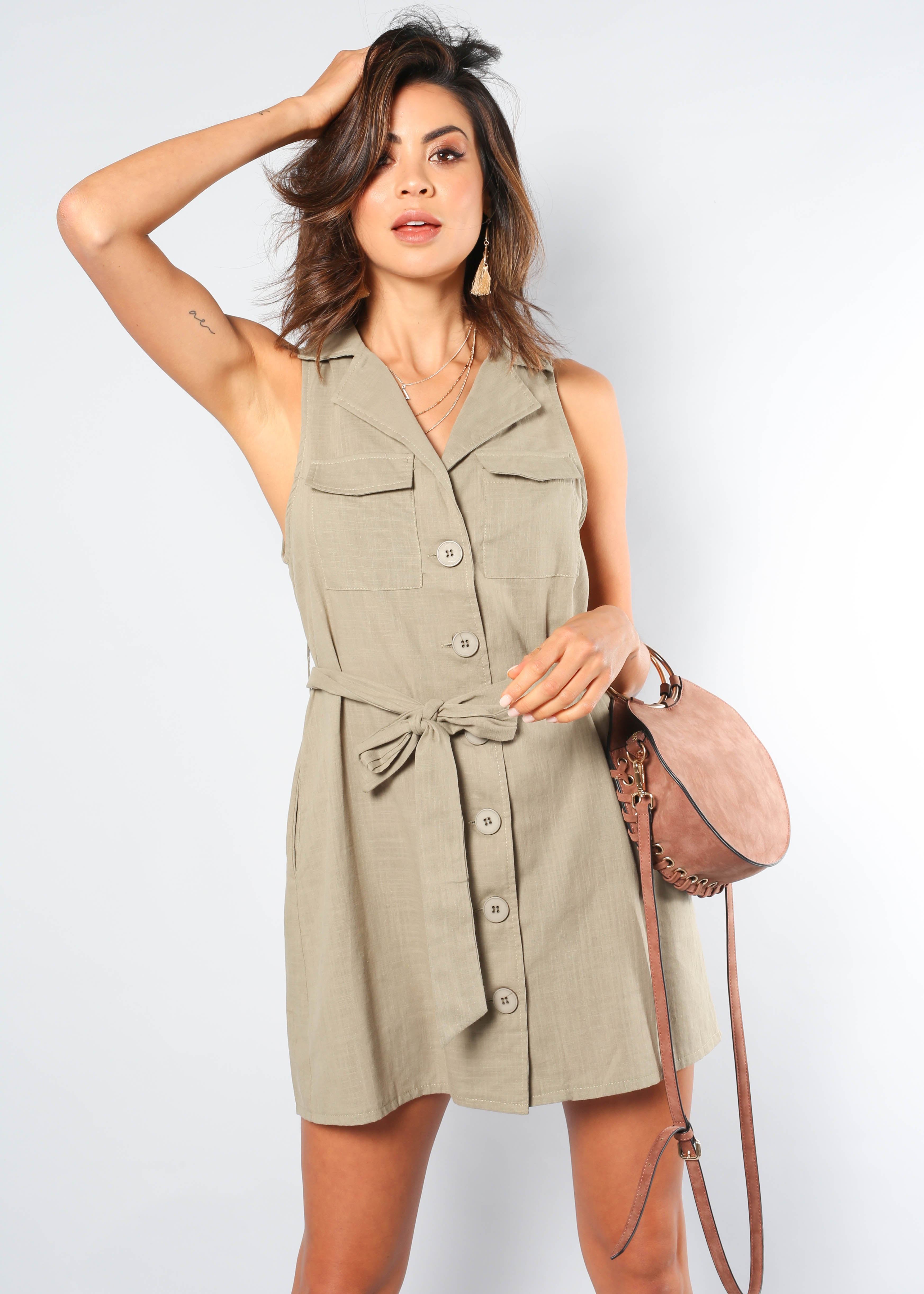 Kali Dress w/ Tie - Khaki