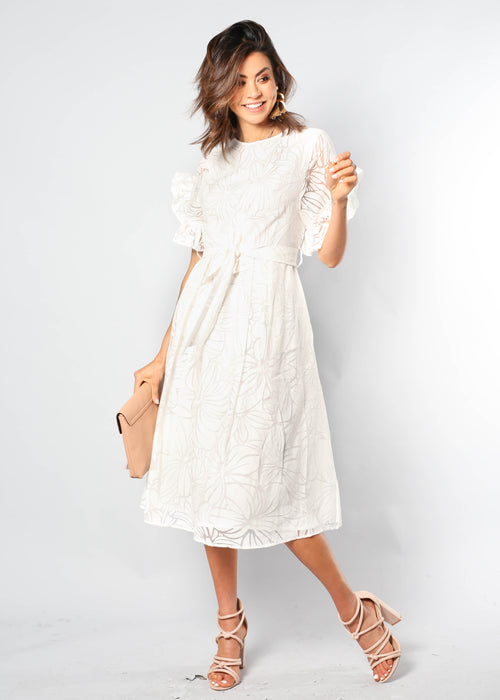 La Belle Midi Dress w/ Tie - White