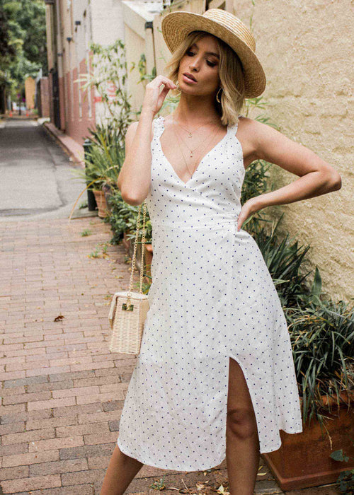 Hollie Wrap Midi Dress - White Polka