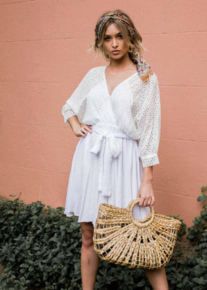 Liana Embroidered Swing Dress w/ Tie - White