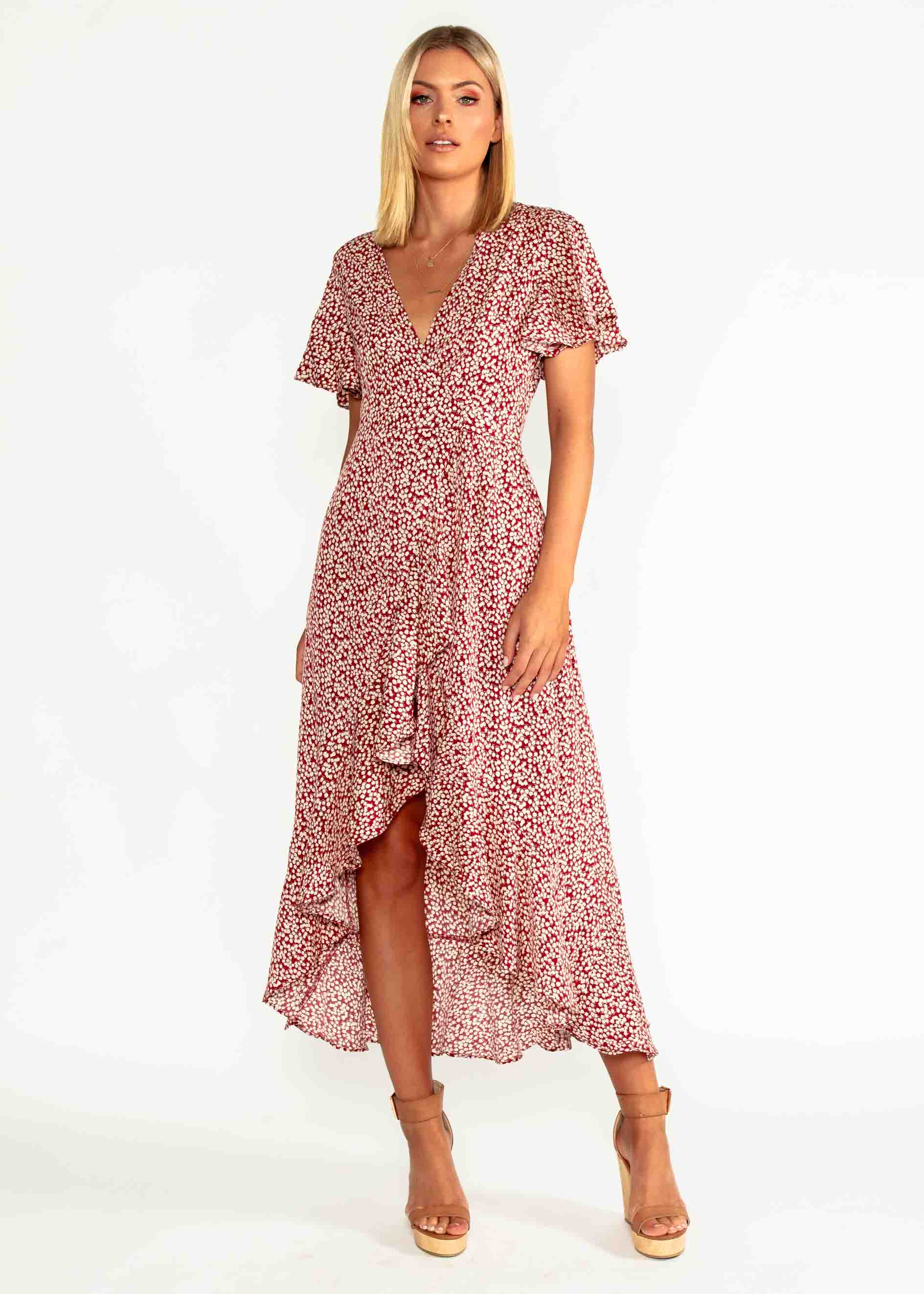 First Look Wrap Midi Dress - Red Floral
