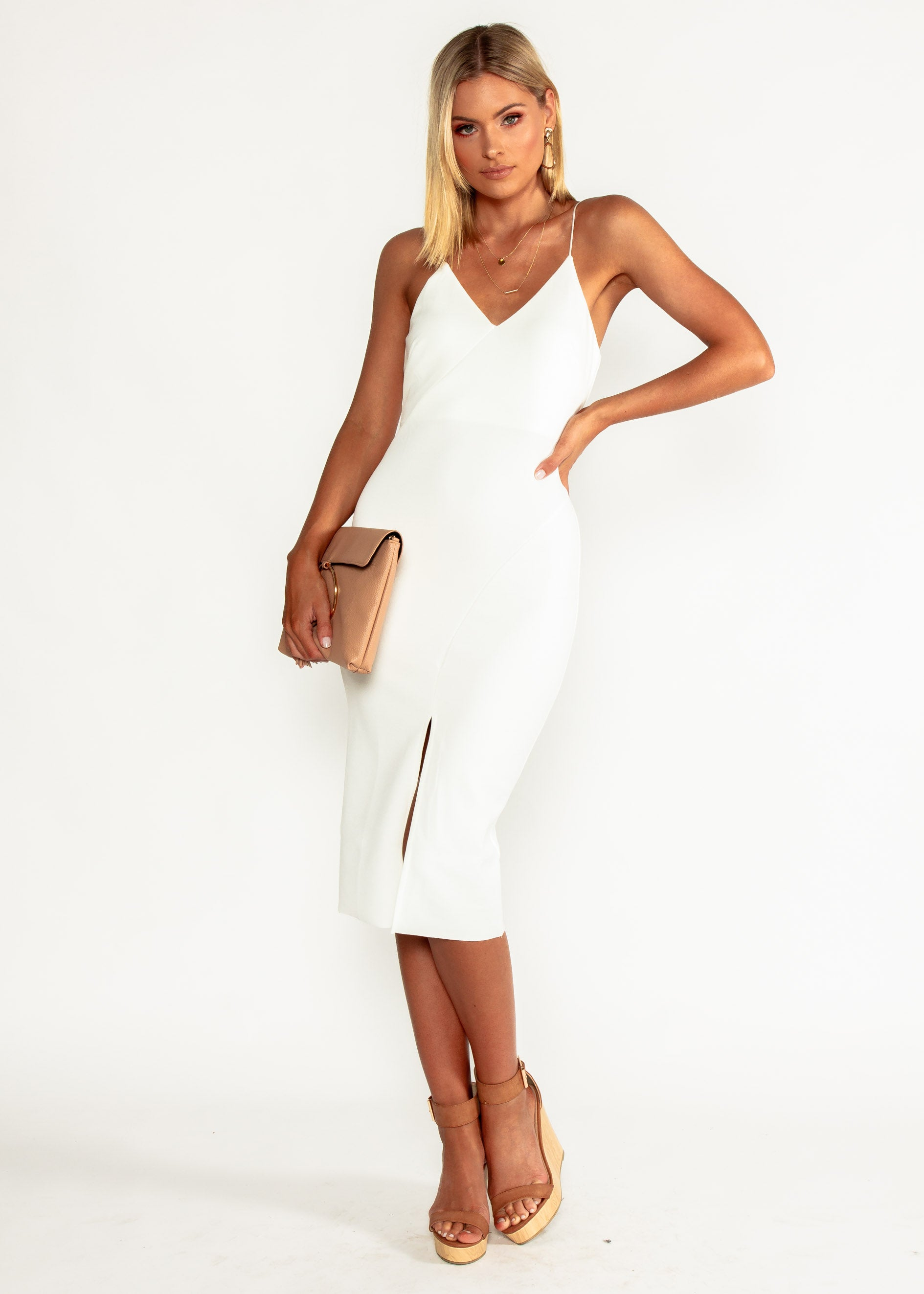 Change Your Mind Midi Dress - White