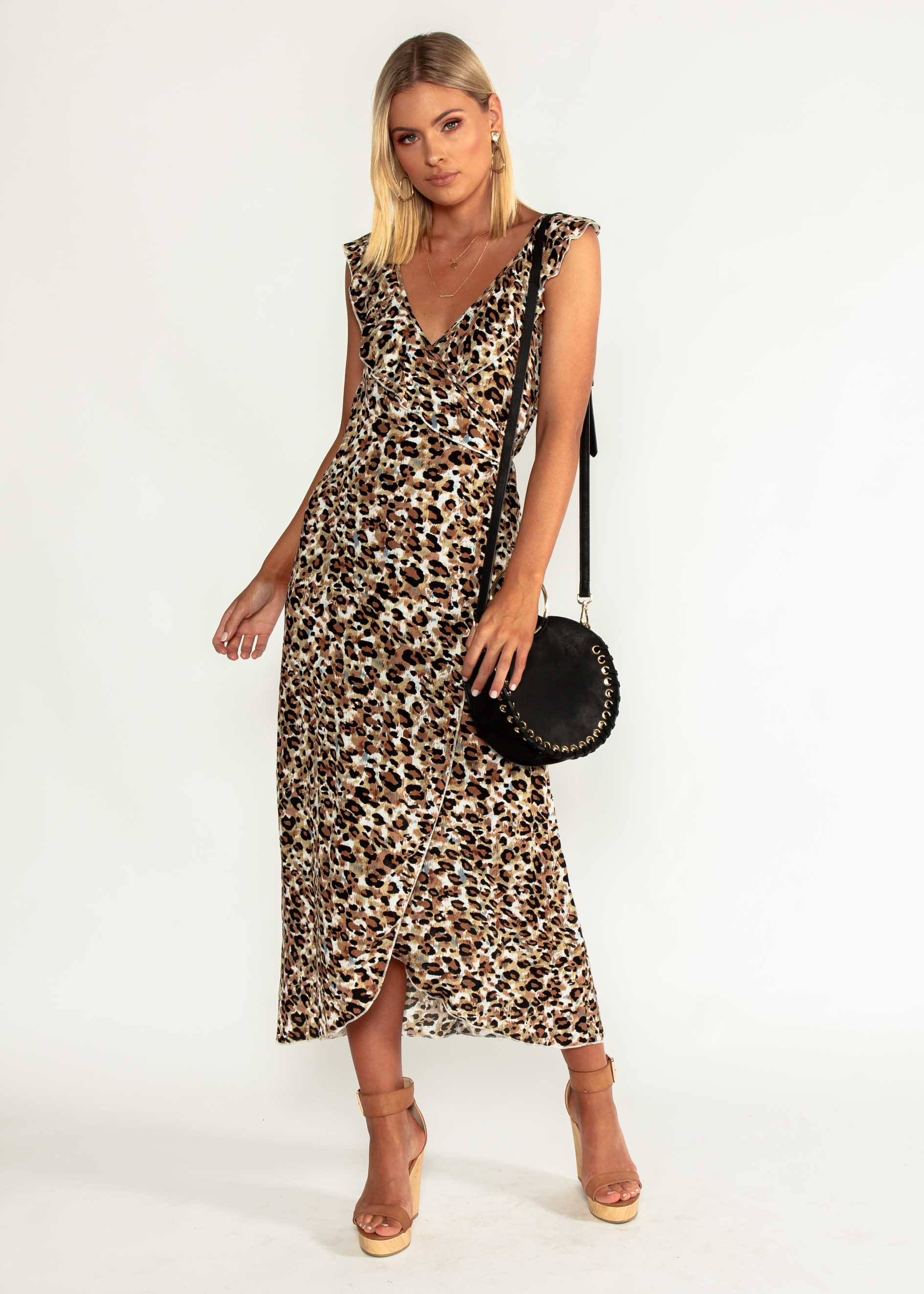 Flo Wrap Maxi Dress - Leopard
