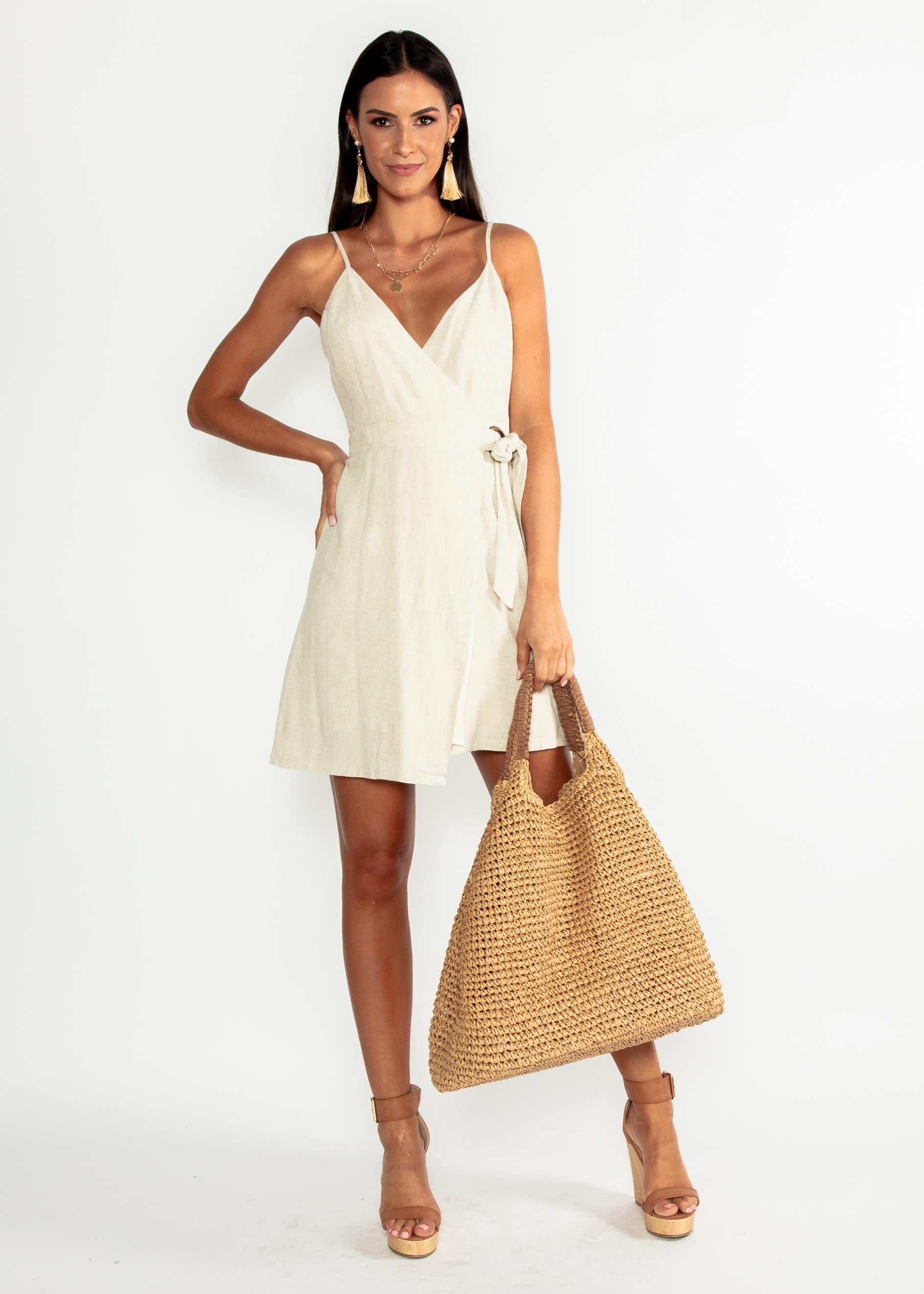 Golden Days Linen Wrap Dress - Natural