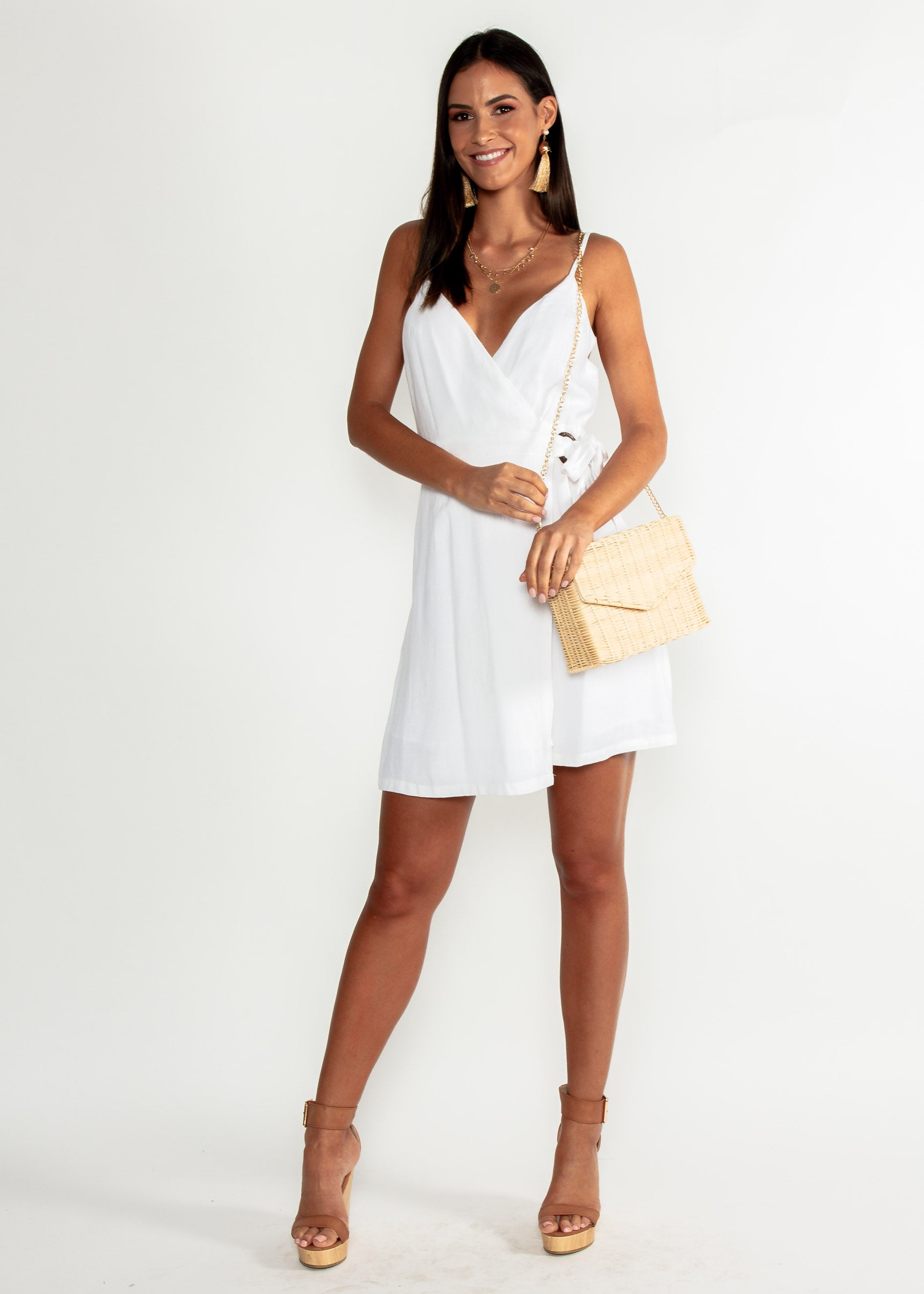 Golden Days Linen Wrap Dress - White