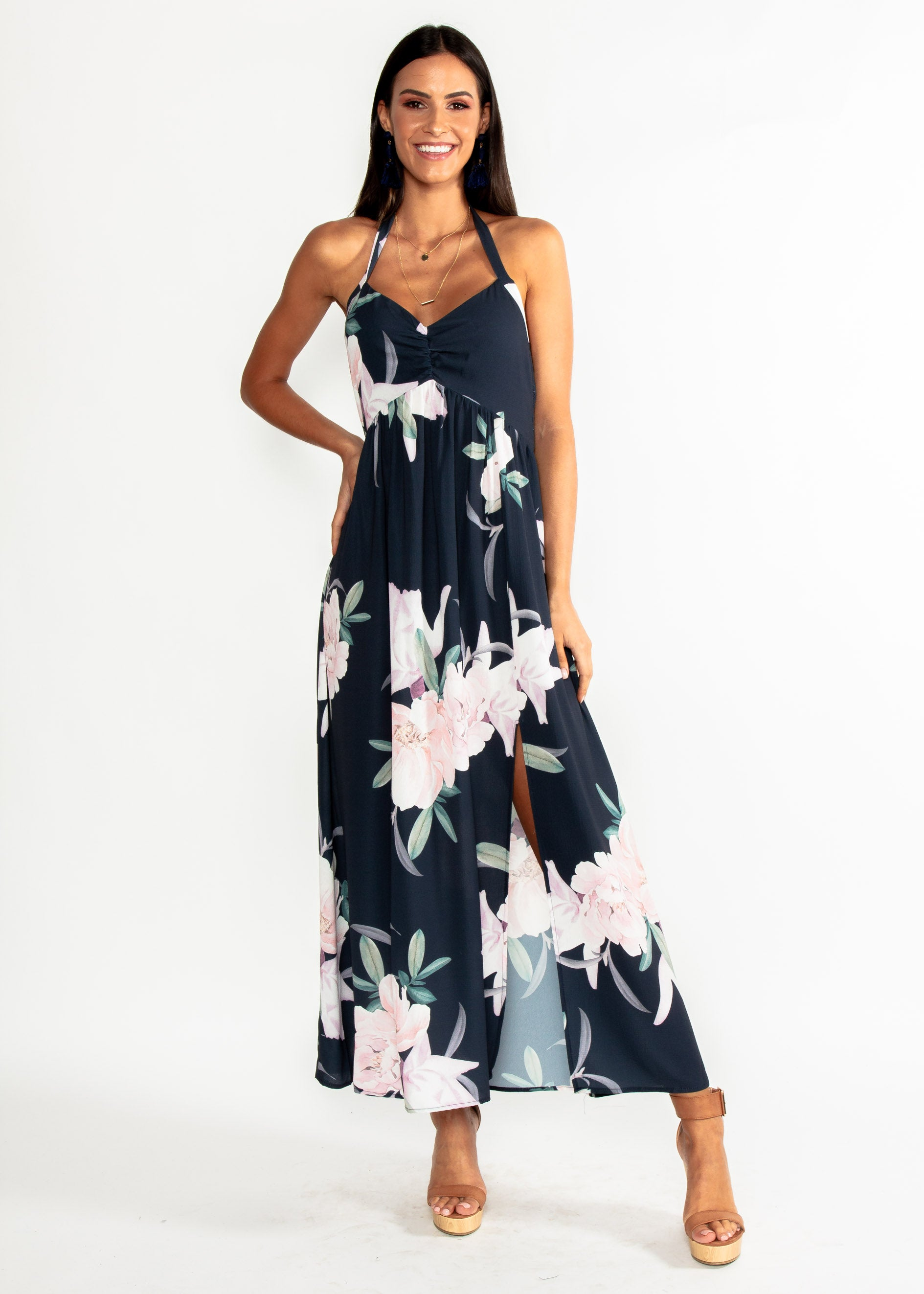 1d68d571a878 Sweet Serenade Halter Maxi Dress - Navy Floral ...