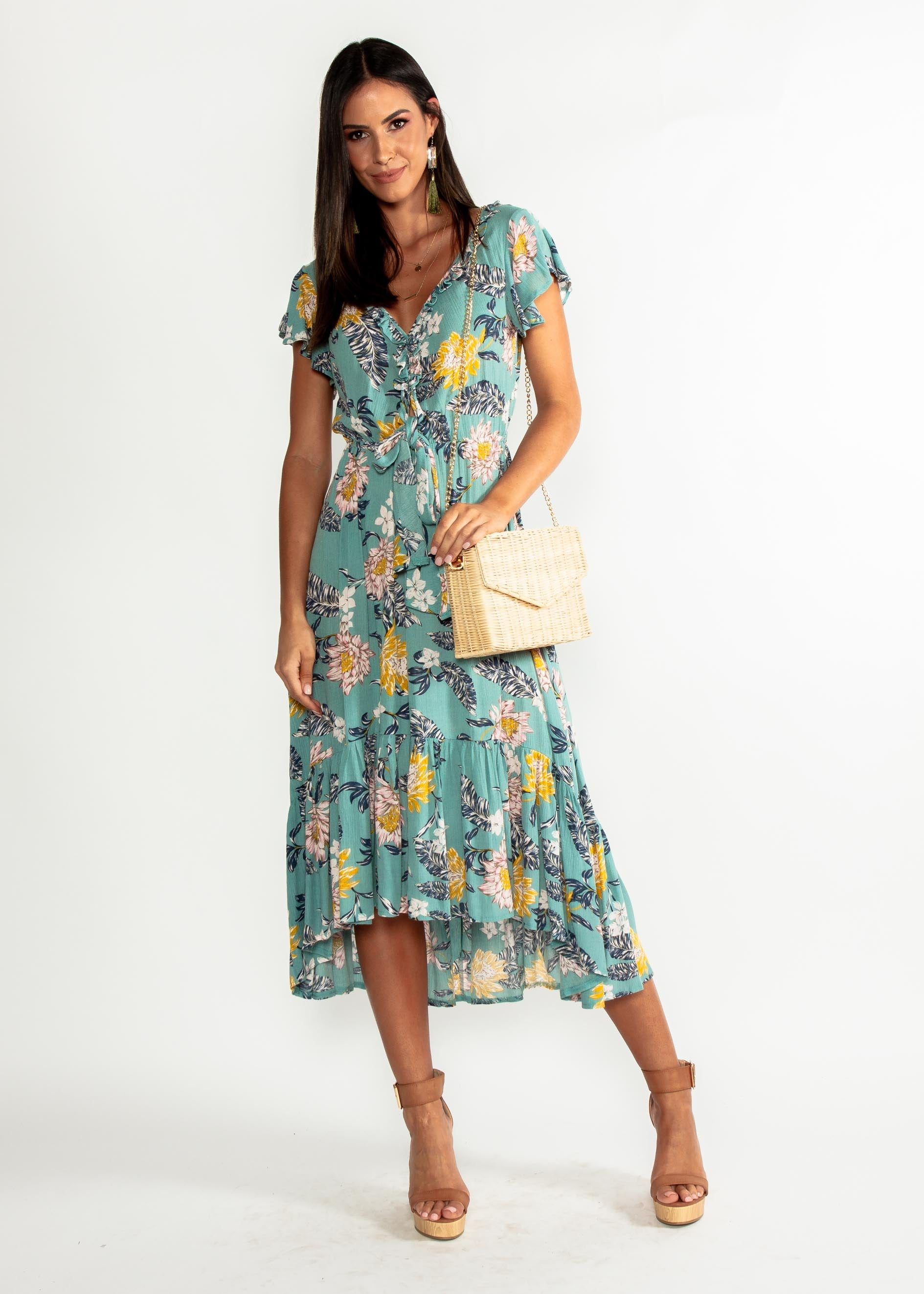 Marigold Tie Midi Dress - Mint Floral