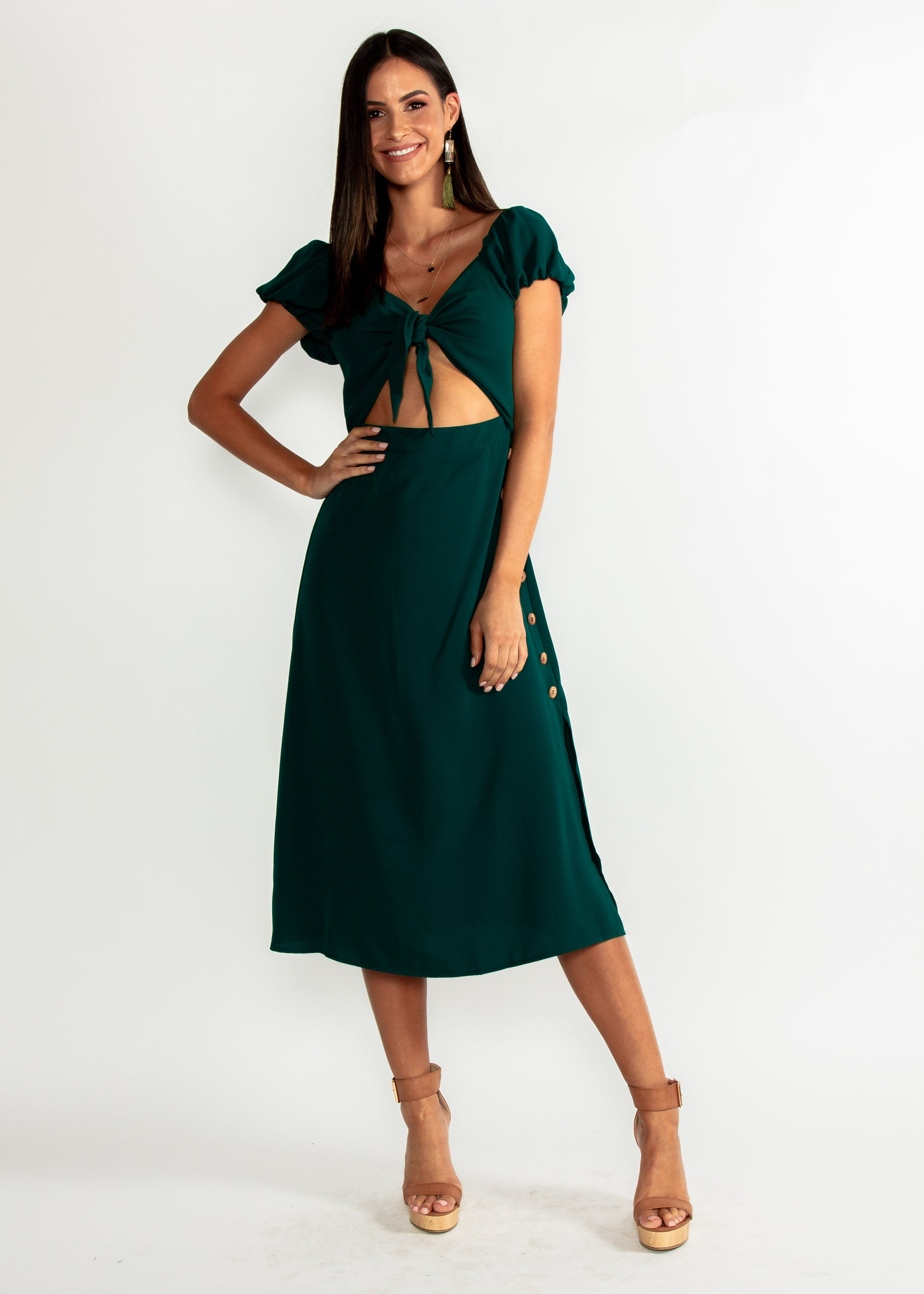 Free Fall Tie Midi Dress - Emerald